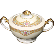 Beautiful ''Annette'' pattern Lidded Sugar by Meito China.