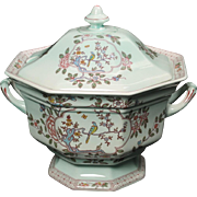 Adams China (Wedgwood) Lidded Soup Tureen in the ''Singapore Bird'' pattern.  9'' tall by 11'' wide.