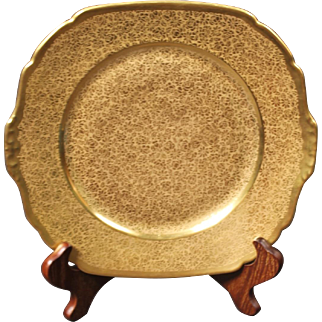 Victoria Porcelain - Schmidt & Co. Gold Encrusted ''Rose and Daisy'' Cake Plate decorated in the USA by Pickard.  10-3/8''
