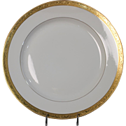 Tresseman & Vogt (T&V) Limoges, France Dinner Plate - White with a Richly Encrusted Gold Trim.  10-5/8''