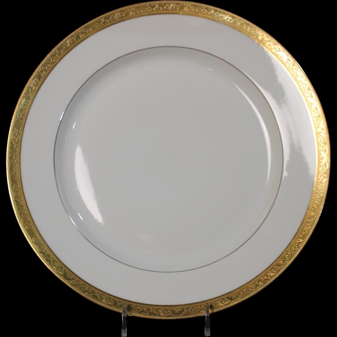 Tresseman & Vogt (T&V) Limoges, France Dinner Plate - White with a Richly Encrusted Gold Trim.  10-5/8''