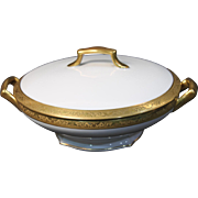 Beautiful Tresseman & Vogt (T&V) Limoges, France Covered Round Vegetable Serving Bowl - White with a Richly Encrusted Gold Trim.  8''