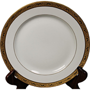 Beautiful Tresseman & Vogt (T&V) Limoges, France Luncheon Plate - White with a Richly Encrusted Gold Trim.  8-3/4''