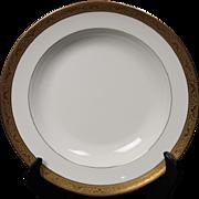 Beautiful Tresseman & Vogt (T&V) Limoges, France Soup Bowl - White with a Richly Encrusted Gold Trim.  8-1/8''