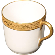 Beautiful Tresseman & Vogt (T&V) Limoges, France Demitasse Cup - White with a Richly Encrusted Gold Trim.  2-1/8''