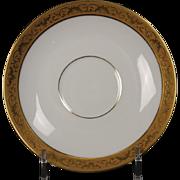 Beautiful Tresseman & Vogt (T&V) Limoges, France Demitasse Saucer - White with a Richly Encrusted Gold Trim.  4-7/8''