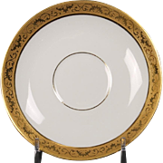 Beautiful Tresseman & Vogt (T&V) Limoges, France Demitasse Saucer - White with a Richly Encrusted Gold Trim.  5''
