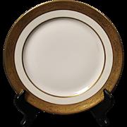 Beautiful Tresseman & Vogt (T&V) Limoges, France Salad Plate - White with a Richly Encrusted Gold Trim.  7-5/8''