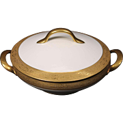 Beautiful Tresseman & Vogt (T&V) Limoges, France Round Covered Vegetable Serving Bowl - White with a Richly Encrusted Gold Trim.  7-3/4''