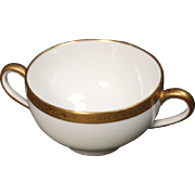 Beautiful Tresseman & Vogt (T&V) Limoges, France Bouillon Cup - White with a Richly Encrusted Gold Trim.  2''