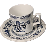 Beautiful Kensington Ironstone ''Coventry Blue Onion'' Cup and Saucer from Staffordshire England circa 1960's.