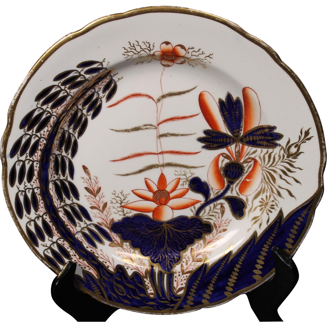 Spode Imari ''Banana Tree'' #2214 Luncheon Plate circa 1810.  Minor gold flaking on rim.  8-1/2''