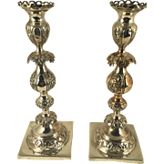 Beautiful Pair of Sterling Warsaw Poland Sabbath Candlesticks