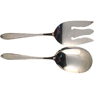 """Alvin Sterling Silver """"Southern Charm"""" 2 Piece Salad Set"""