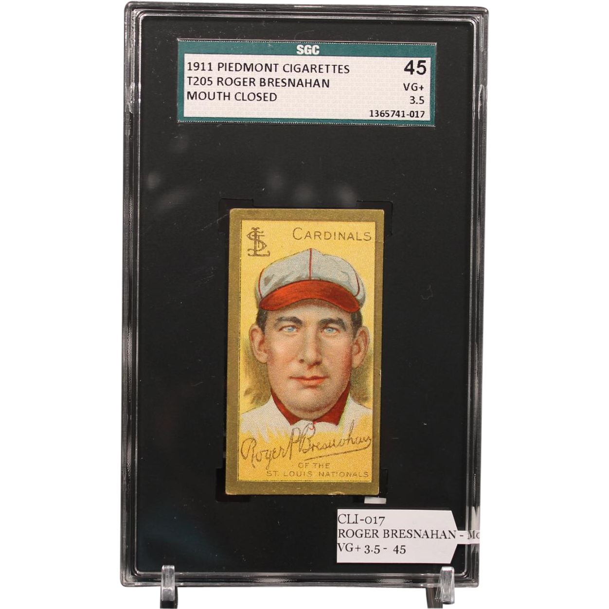T205 Roger Bresnahan-Hall of Famer-Mouth Closed SGC grade 45 VG+ 3.5