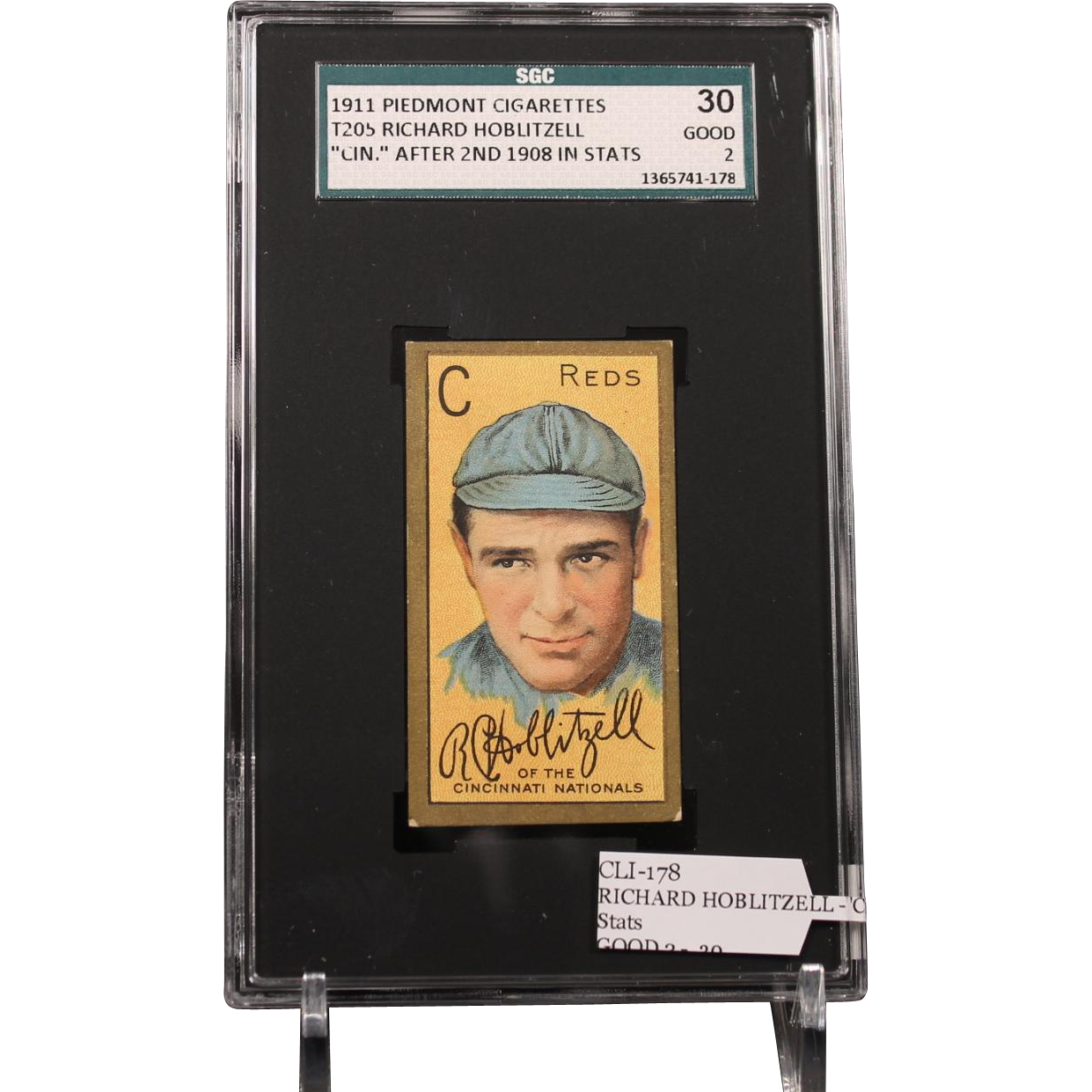 T205 RICHARD HOBLITZELL - 'Cin.'' After 2nd 1908 in Stats SGC grade 30 GOOD 2