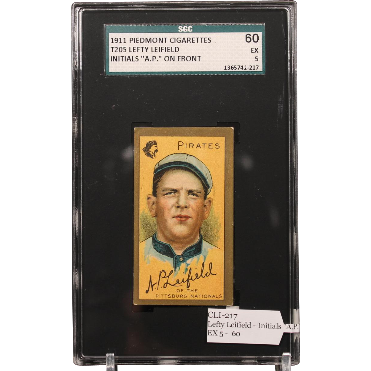 T205 Lefty Leifield - Initials ''A.P.'' on Front SGC grade 60 EX 5