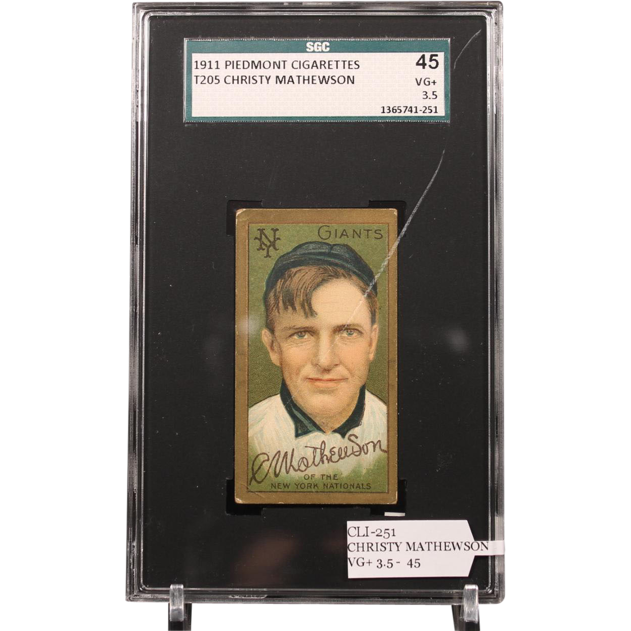 T205 CHRISTY MATHEWSON SGC grade 45 VG+ 3.5