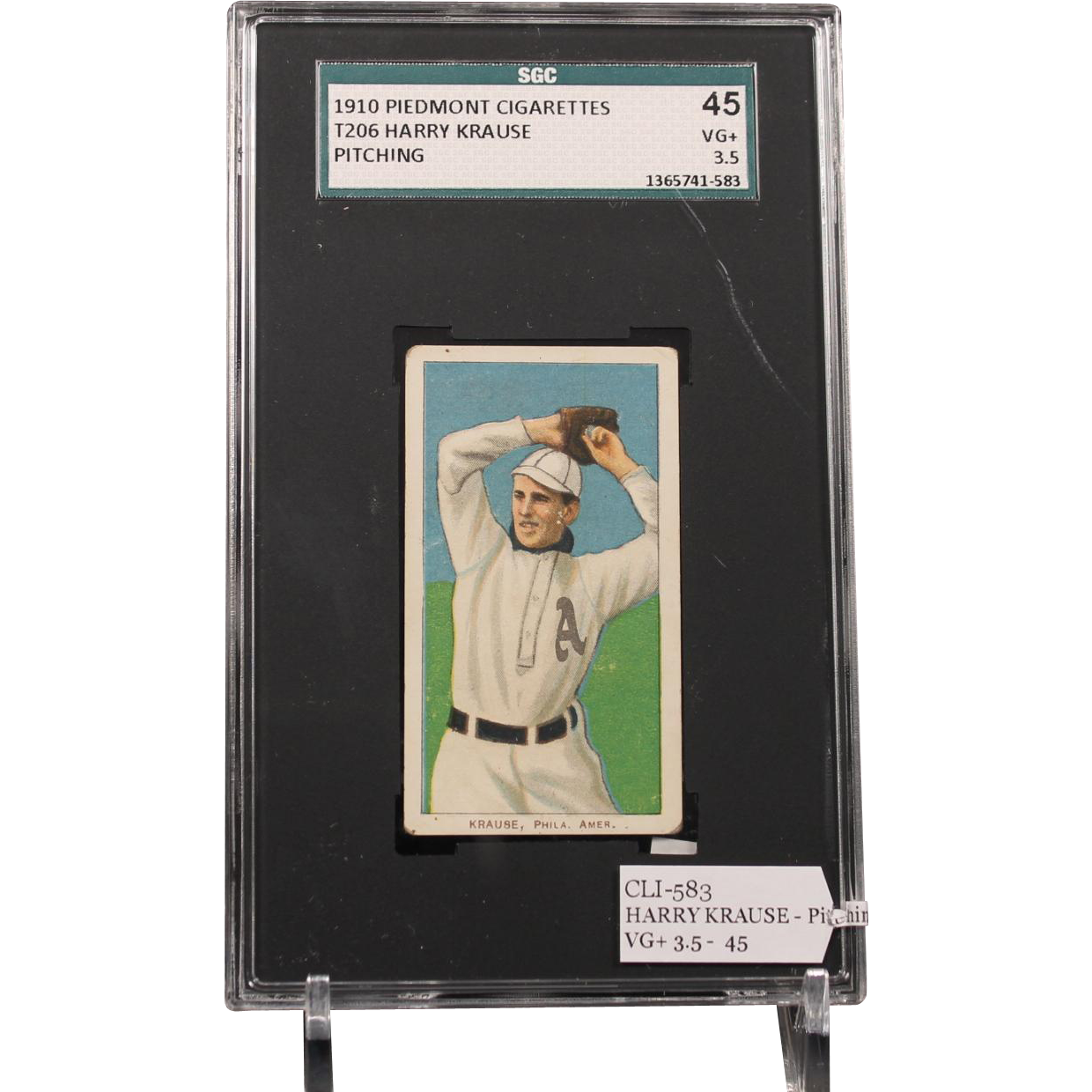 T206 HARRY KRAUSE - Pitching SGC grade 45 VG+ 3.5