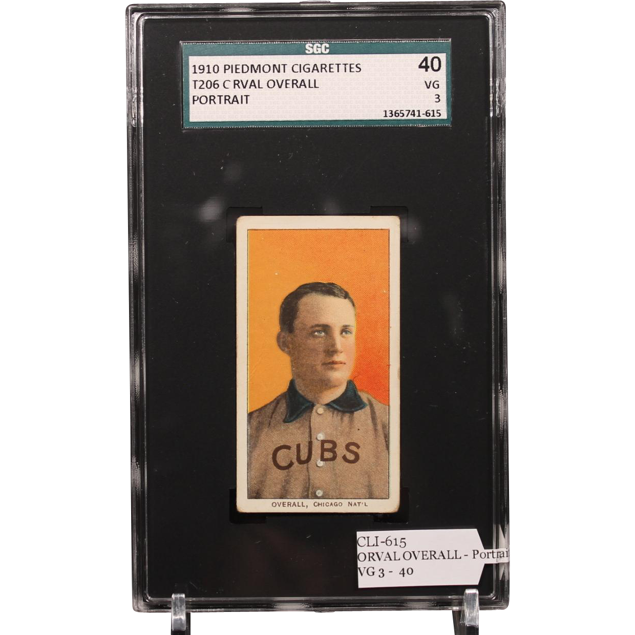 T206 ORVAL OVERALL - Portrait SGC grade 40 VG 3