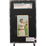 We are offering a BOB RHOADES - Right Arm Extended T206 card professionally graded by SGC.   Grade is 40 with a quality rating of VG 3.  SGC has packaged this card in a protective case.  This card is from the 1909-1910 Piedmont Cigarettes series.