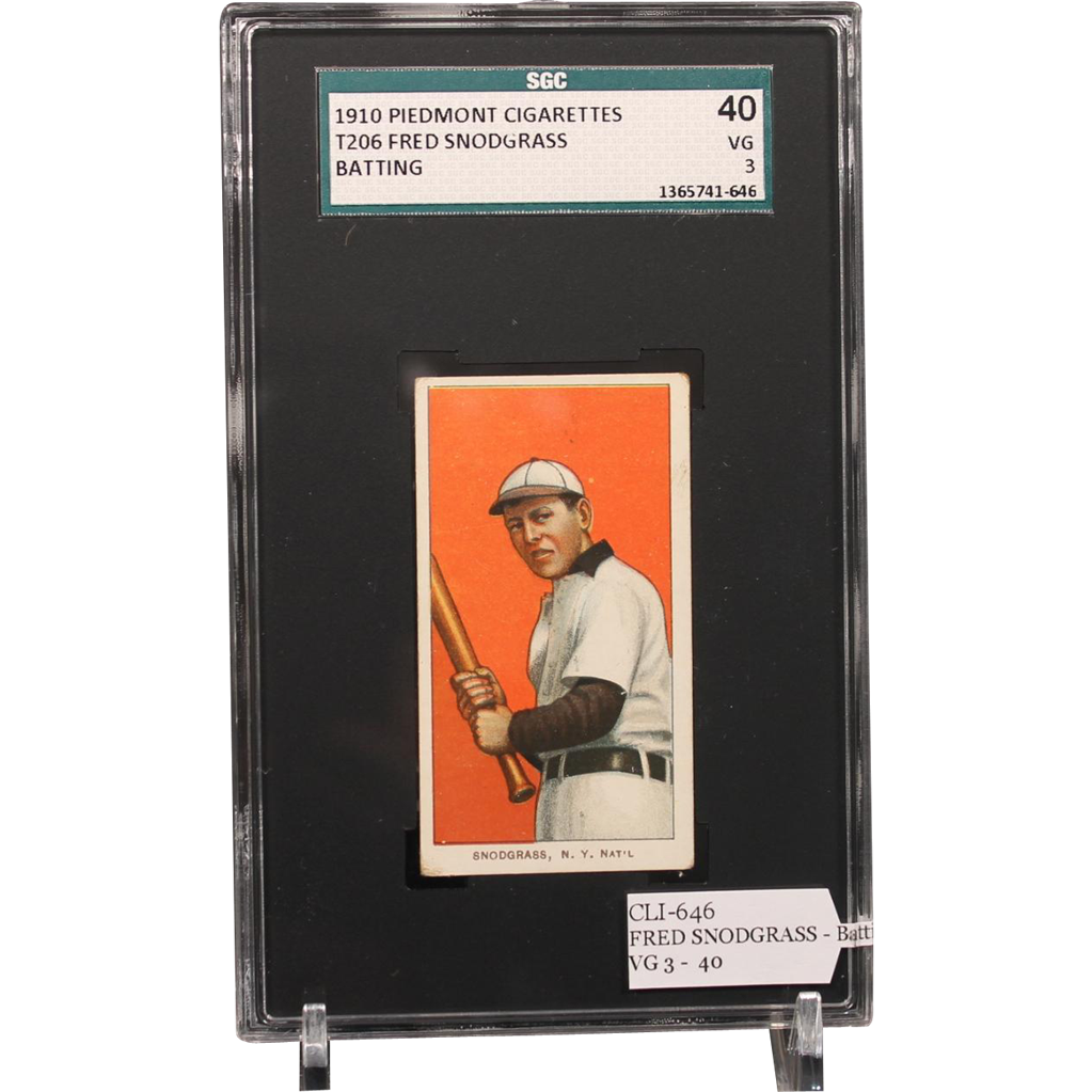 T206 FRED SNODGRASS - Batting SGC grade 40 VG 3