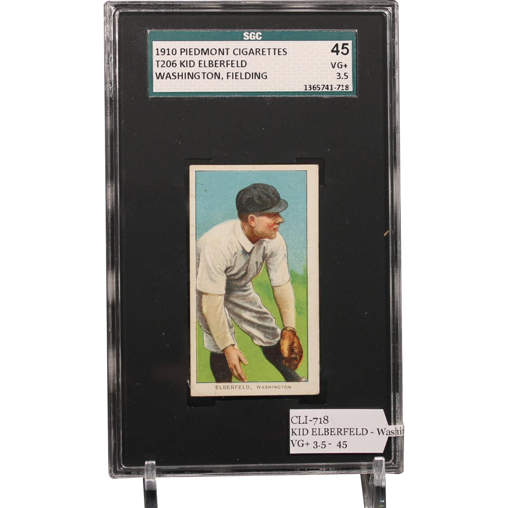 T206 KID ELBERFELD - Washington, Fielding SGC grade 45 VG+ 3.5