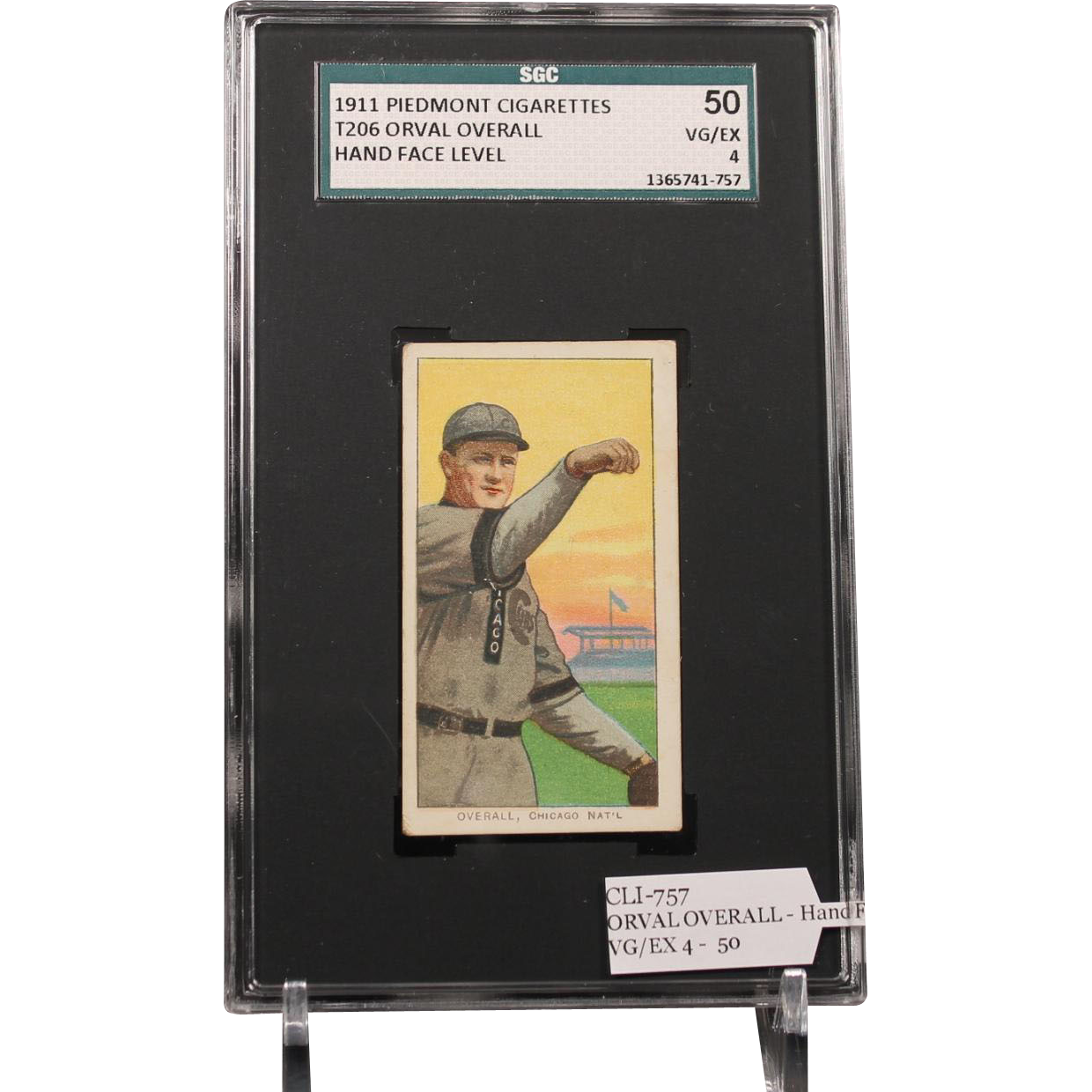 T206 ORVAL OVERALL - Hand Face Level SGC grade 50 VG/EX 4