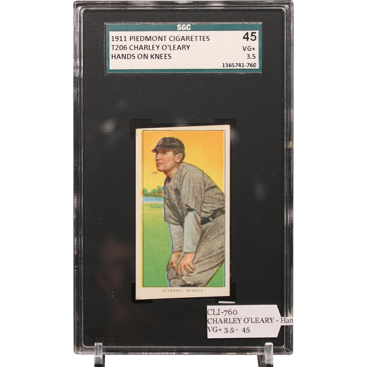 T206 CHARLEY O'LEARY - Hands on Knees SGC grade 45 VG+ 3.5