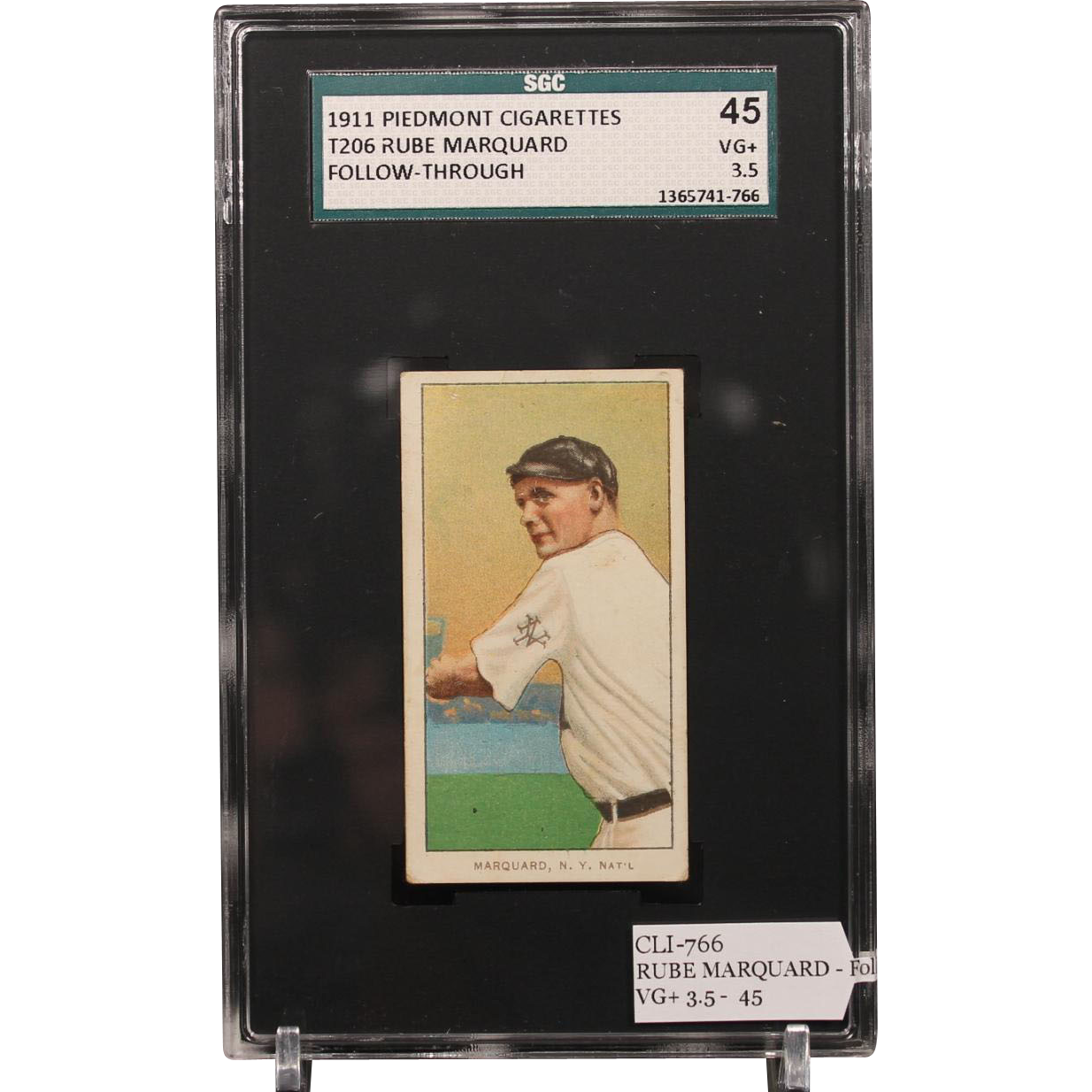 T206 RUBE MARQUARD - Follow-Through SGC grade 45 VG+ 3.5