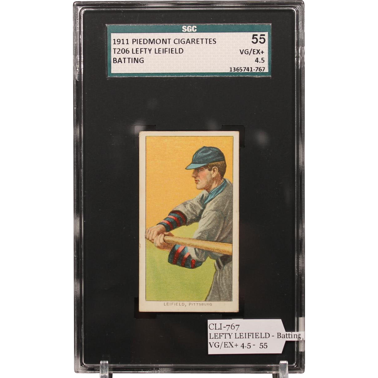 T206 LEFTY LEIFIELD - Batting SGC grade 55 VG/EX+ 4.5