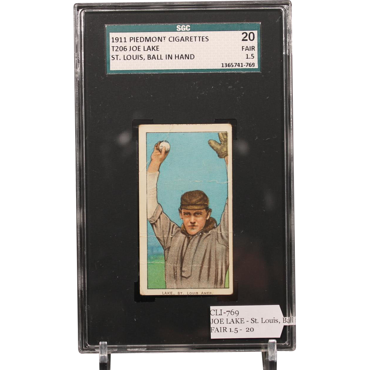 T206 JOE LAKE - St. Louis, Ball in Hand SGC grade 20 FAIR 1.5