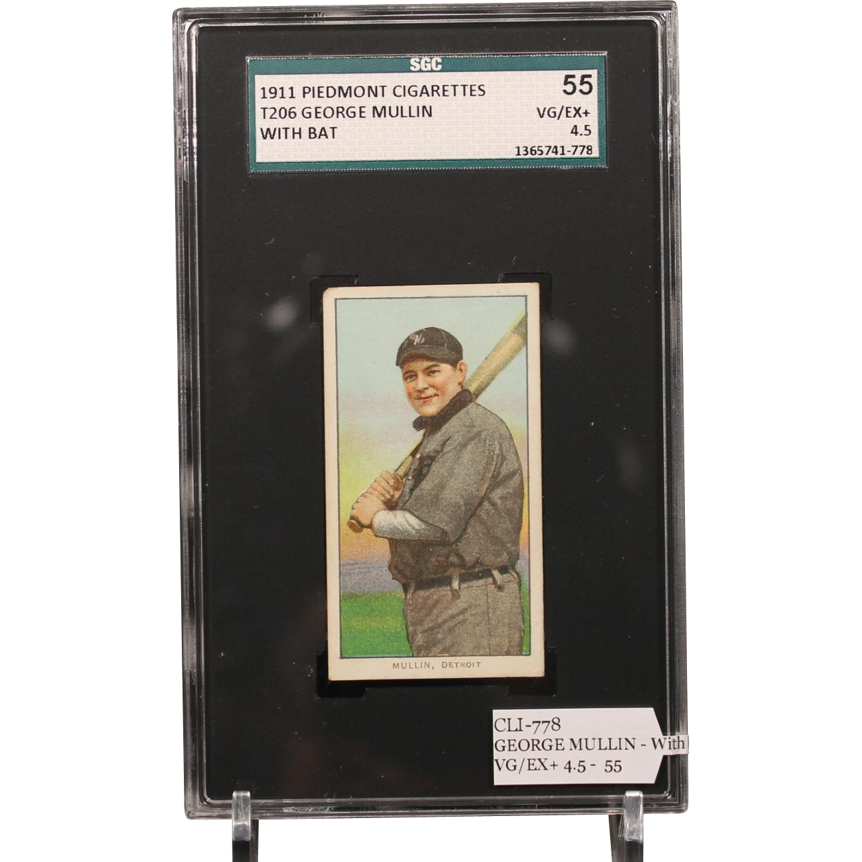 T206 GEORGE MULLIN - With Bat SGC grade 55 VG/EX+ 4.5