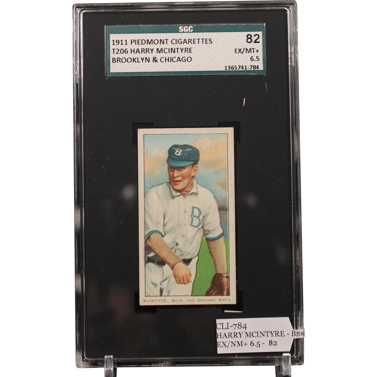 T206 HARRY MCINTYRE - Brooklyn & Chicago SGC grade 82 EX/NM+ 6.5