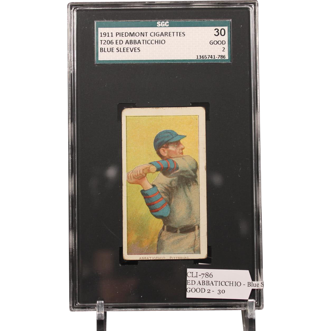 T206 ED ABBATICCHIO - Blue Sleeves SGC grade 30 GOOD 2