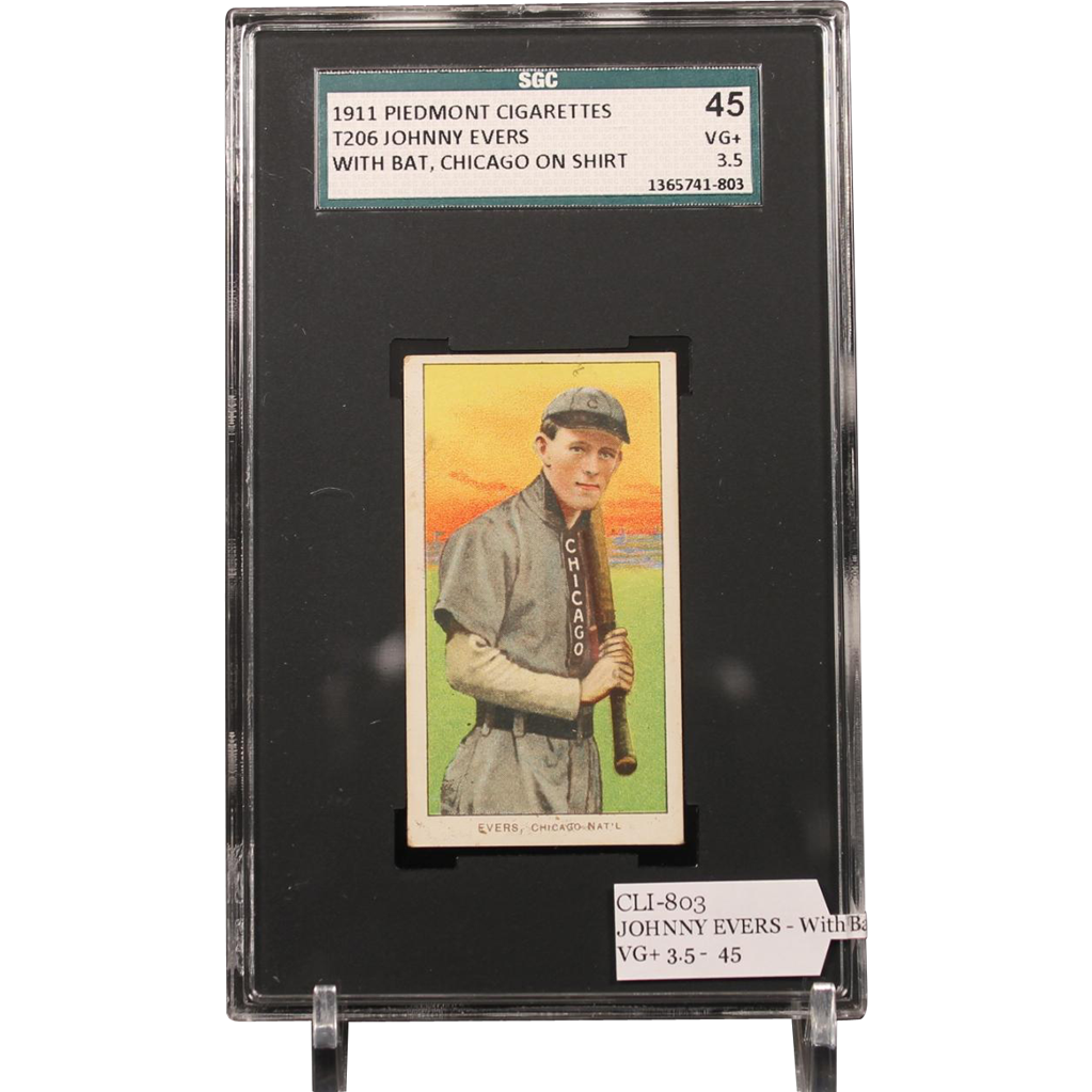 T206 JOHNNY EVERS - With Bat, Chicago on Shirt SGC grade 45 VG+ 3.5