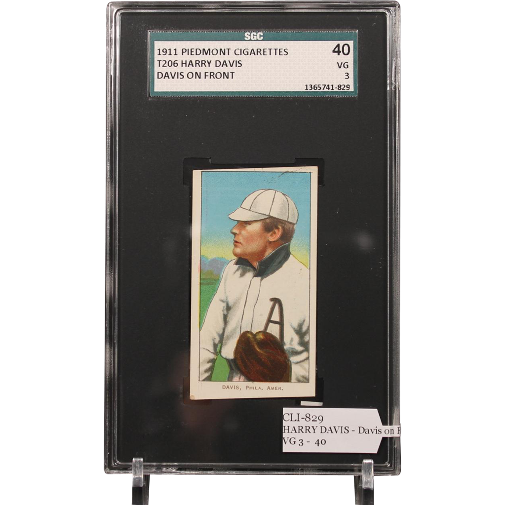 T206 HARRY DAVIS - Davis on Front SGC grade 40 VG 3
