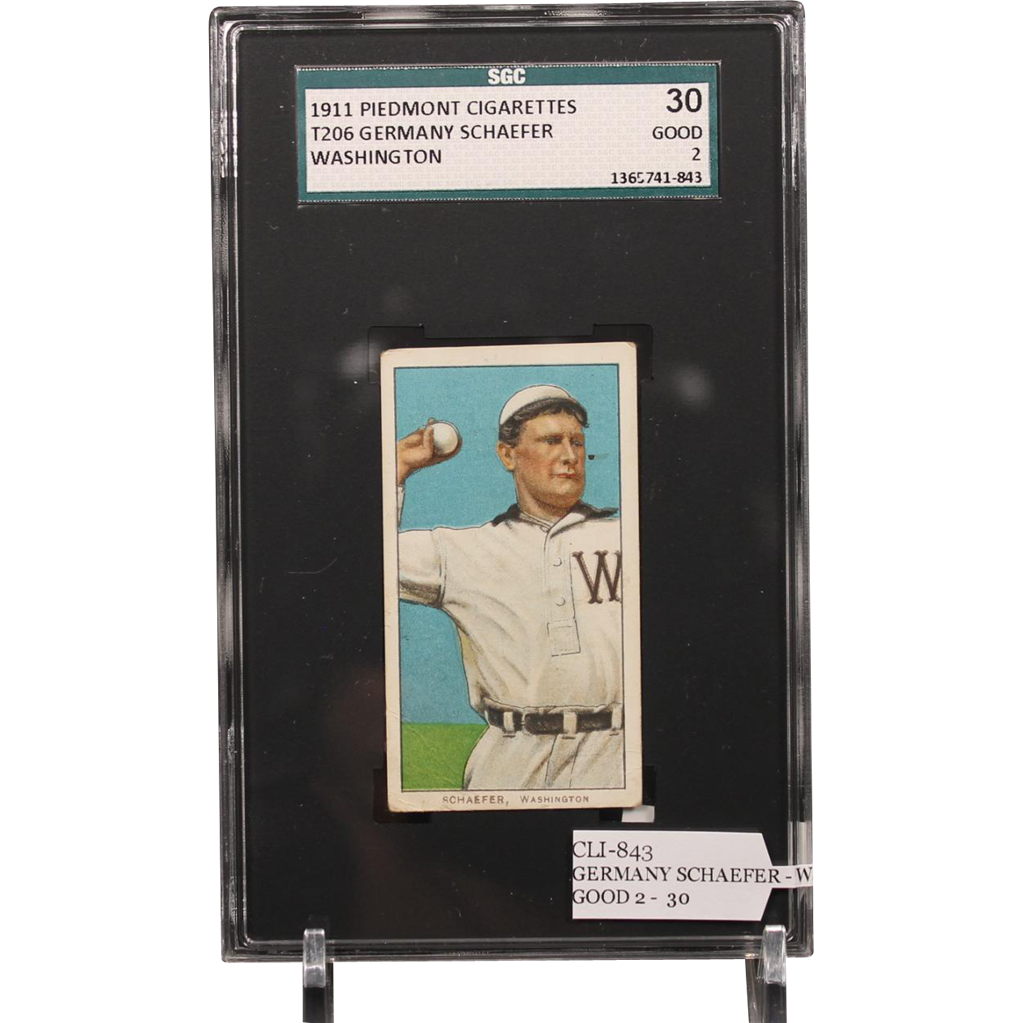 T206 GERMANY SCHAEFER - Washington SGC grade 30 GOOD 2
