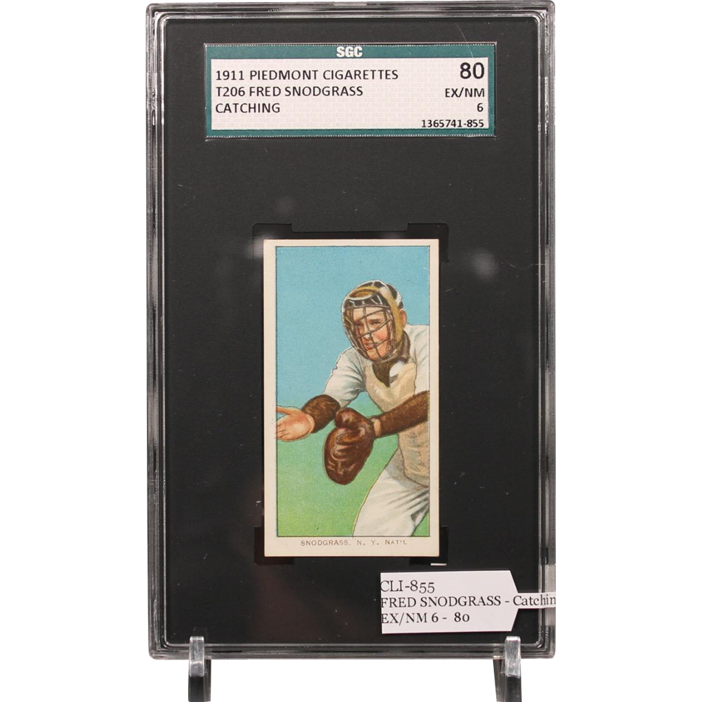 T206 FRED SNODGRASS - Catching SGC grade 80 EX/NM 6