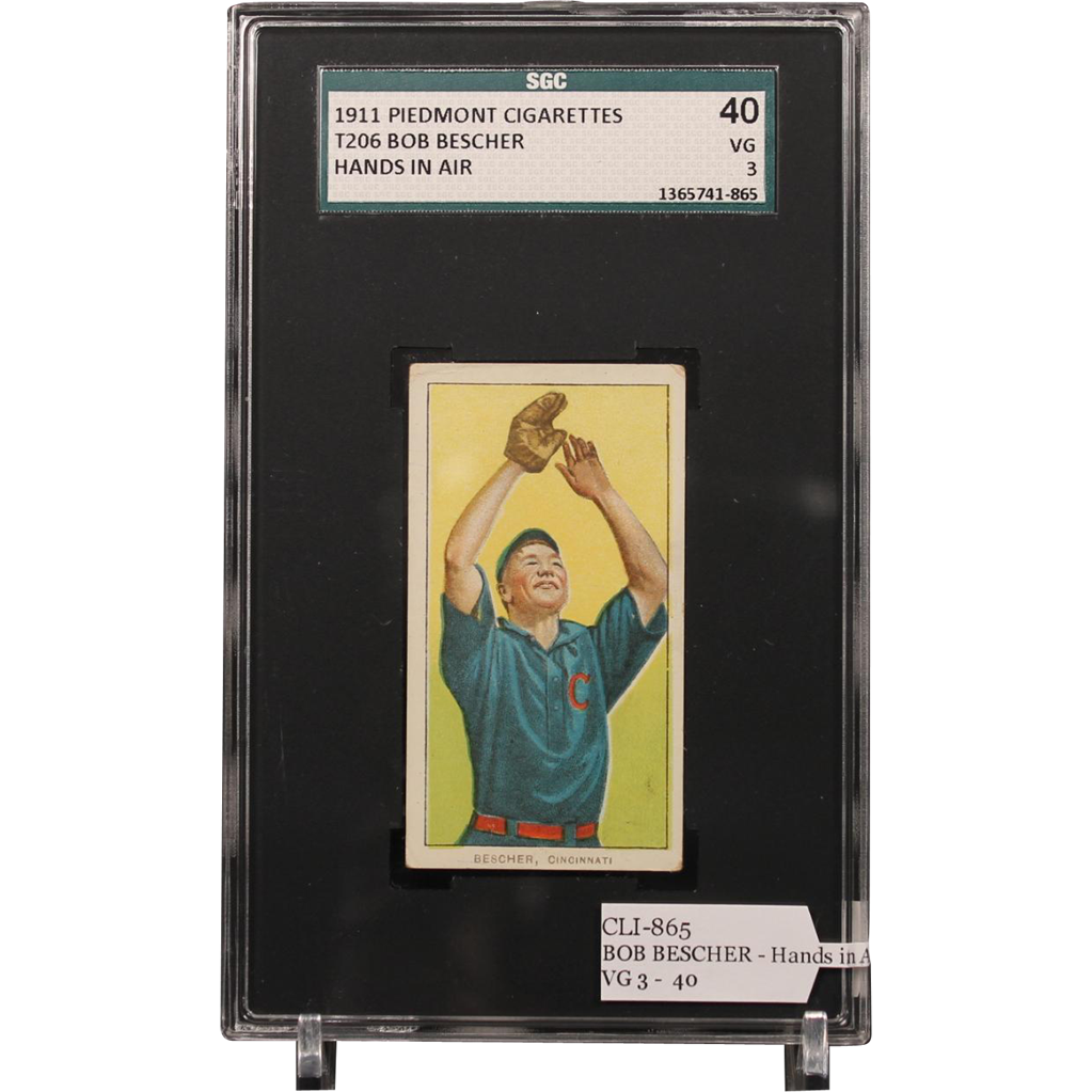 T206 BOB BESCHER - Hands in Air SGC grade 40 VG 3