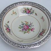 Bavarian Porcelain and Sterling Silver Serving Bowl