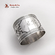 Aesthetic Engraved Ivy Napkin Ring Coin Silver 1880
