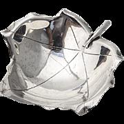 Hand Made Figural Leaf Bowl Ball Feet Sciarrotta Sterling Silver 1950