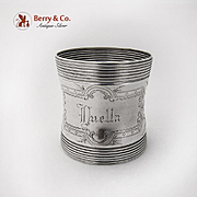 Aesthetic Large Engraved Ivy Napkin Ring Banded Rims Coin Silver 1875