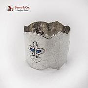 Liberty Style Napkin Ring Shaded Blue Enamel Sterling Silver 1905 Birmingham