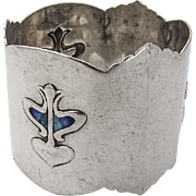 Liberty Style Napkin Ring Shaded Blue Enamel Sterling Silver 1905 Birmingham
