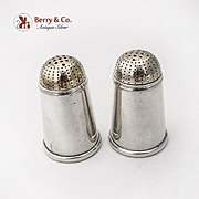 Gilt Tip Salt Pepper Shakers Pair Gorham 932 Sterling Silver