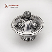 Repousse Fruit Covered Footed Bowl Figural Finial Sterling Silver 1947 Mexico