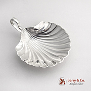Shell Form Serving Bowl Ball Feet Strap Handle Sterling Silver 1940