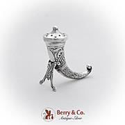 Ornate Viking Horn Form Pepper Shaker Theodor Olsens Sterling Silver Norway